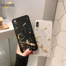 KISSCASE Cute Glitter Bling carcasa para iPhone 6 7 8 Plus funda brillante epoxi Star Moon funda trasera para iPhone X XS fundas Max XR(China)