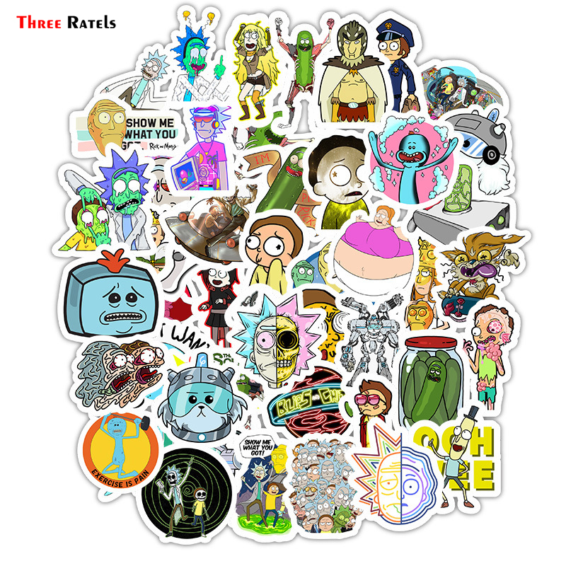 Three Ratels 50pcs/Pack Waterproof Cartoon Rick And Morty Stickers Skateboard Suitcase Guitar Luggage Laptop Sticker Kid Toy