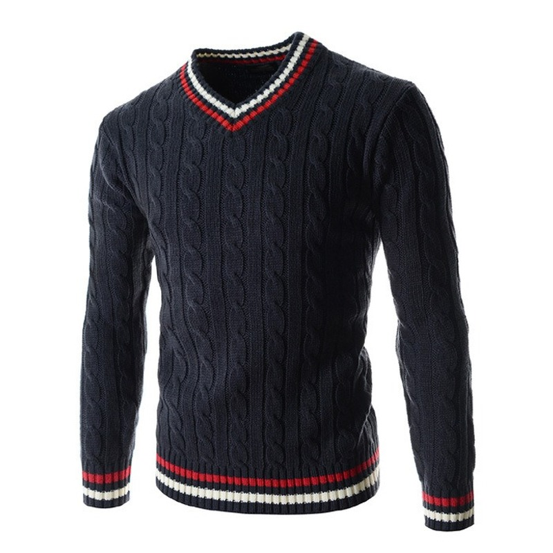 Men Sweater New Winter Men's V-neck Twisted Sweater Korean Long-sleeved Thick Men's Sweater Pullover Men SA-8