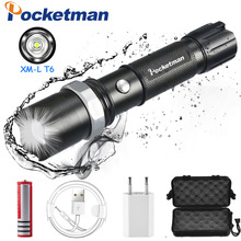 FT17 LED Flashlight XM-L T6 10000LM Aluminum Waterproof Zoomable flashlight Torch 5modes for 18650 Rechargeable Battery or AAA