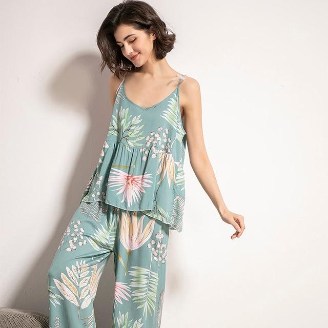 Cotton Viscose Ladies Three-piece Pajamas Set Women Spring and Autumn Comfortable Soft Home Suit Robes with Pants Pajamas Set 6