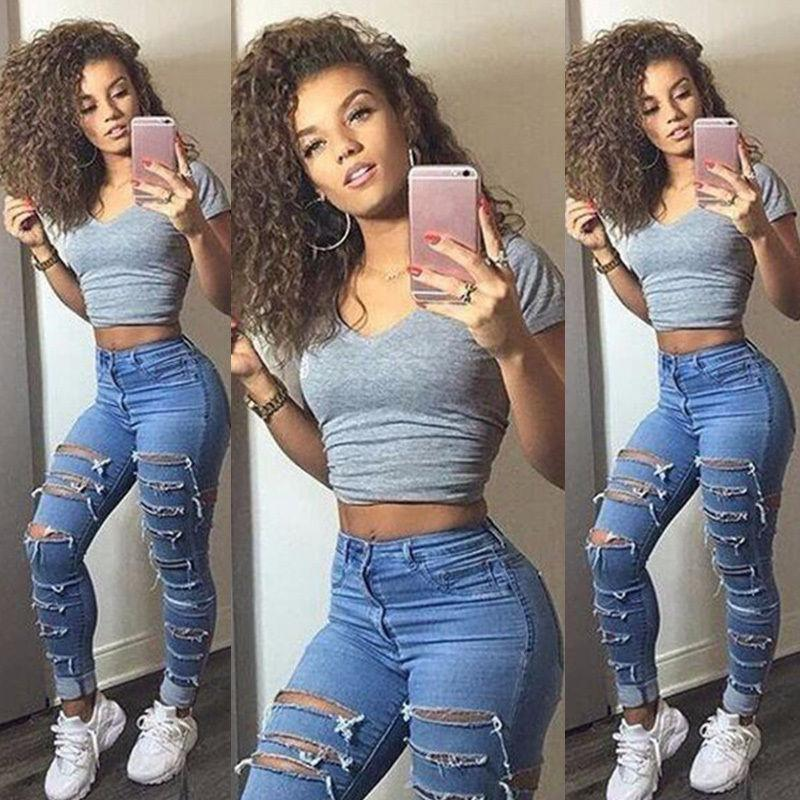 Women/'s Knee Ripped Jeans Skinny Legging Denim Trousers Pants Size 8 10 12 14