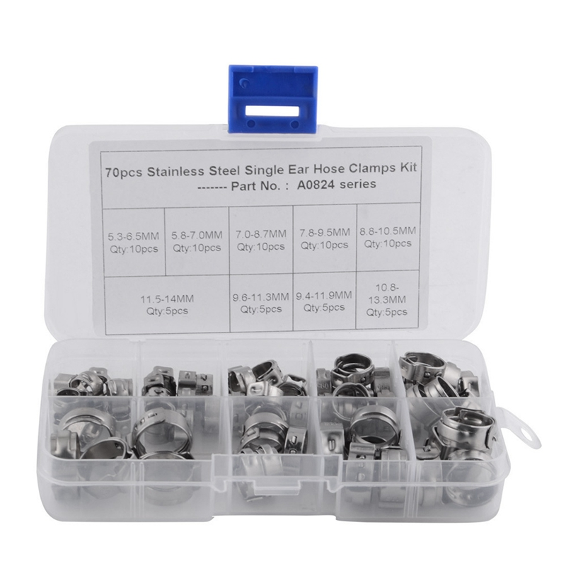 Hot XD-70Pcs/Set Single Ear Hose Clamps Hose Fuel Clamps Assortment For Hydraulic Hose Fuel 5.3-14.0Mm