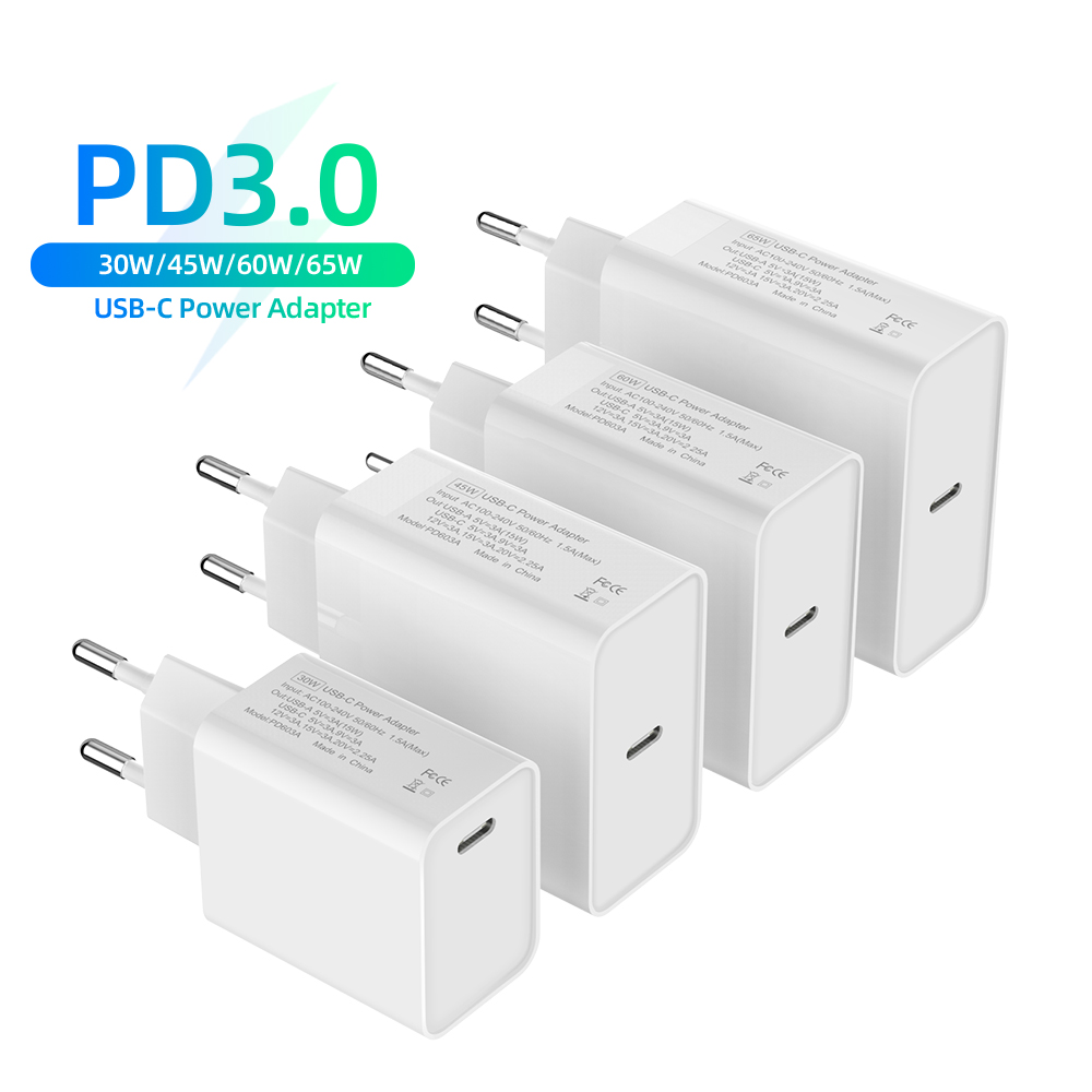 USB C Phone <font><b>Charger</b></font> 30W 45W 60W 65W QC3.0 PD3.0 Power Adapter For iPhone 11Pro <font><b>Samsung</b></font> <font><b>S9</b></font> USB-C <font><b>Charger</b></font> For Laptops MacBook Pro image