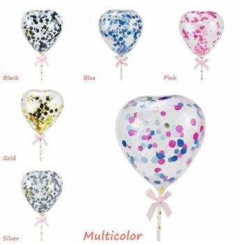 5inches Balloon Cake Topper Heart Confetti Decoration With Paper Straw Ribbon Table Baby Shower Birthday Wedding Party Supplies image