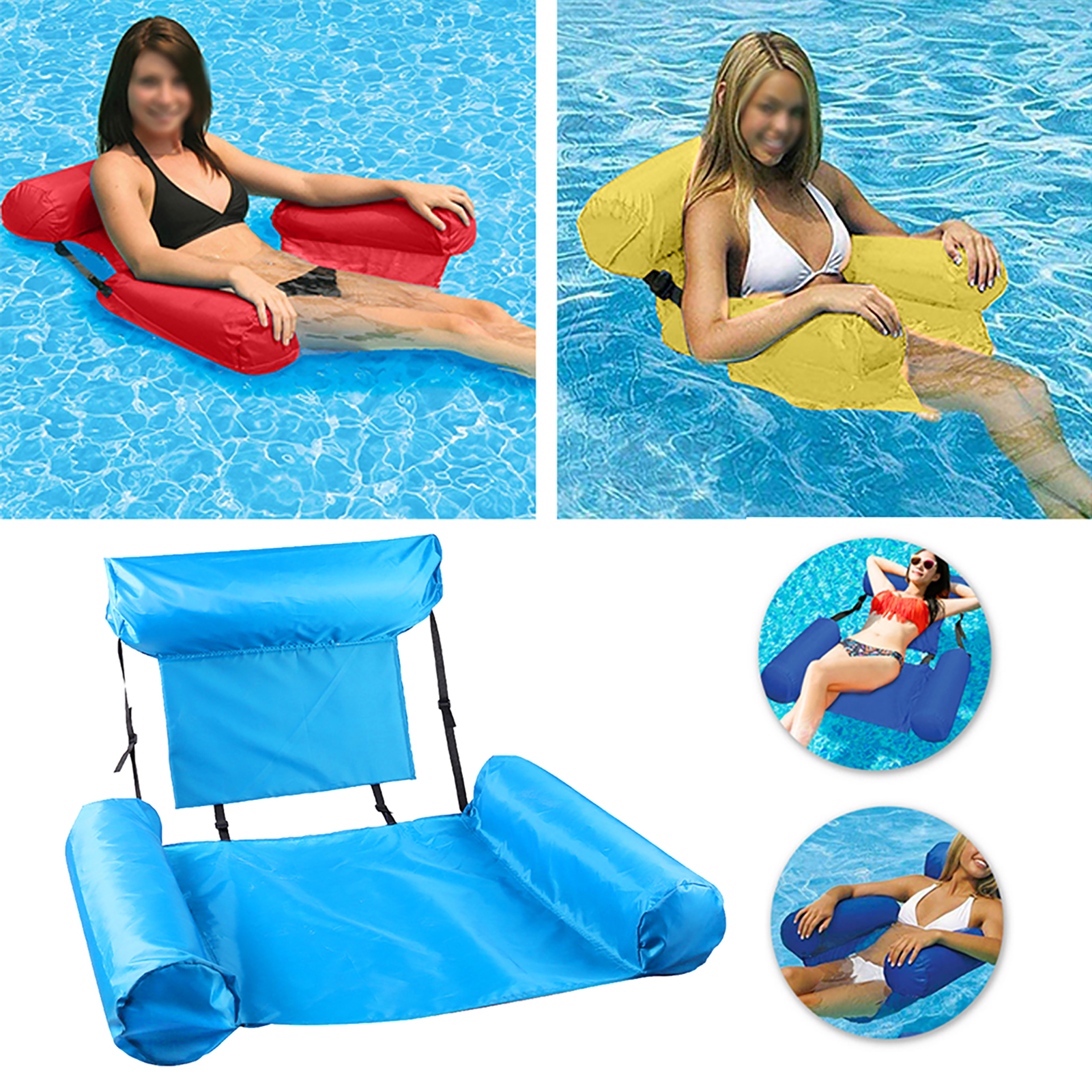 Inflatable Water Chair Summer Swimming Pool Float Lounge Floating Backrest Seat Foldable Drifter Sofa for Outdoor Water Amusemen