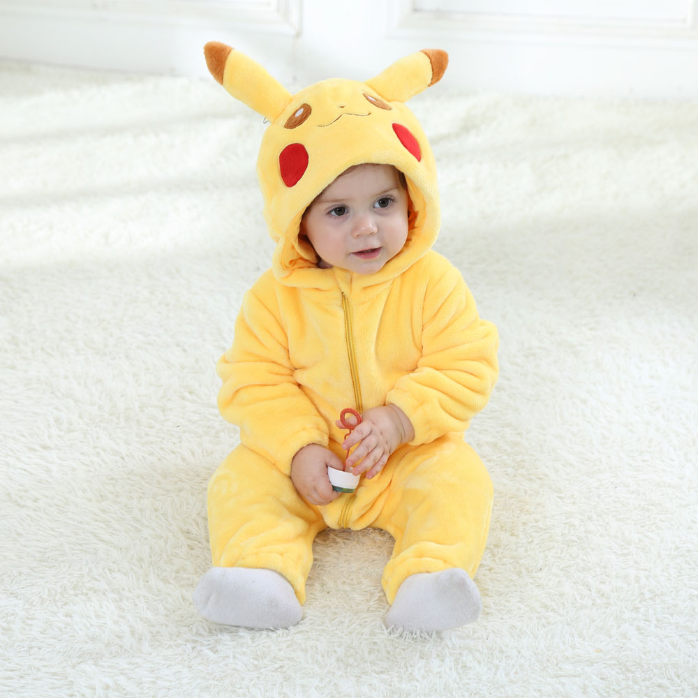 Umorden Baby Pikachu Costume Cosplay Kigurumi Cartoon Animal Rompers Infant Toddler Jumpsuit Flannel Halloween Fancy Dress