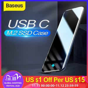 Baseus M.2 SSD Case NGFF Enclosure M.2 to USB Type C 3.1 SSD Adapter for SATA PCIE M/B Key SSD Disk Box M.2 SSD Case Hard Disk