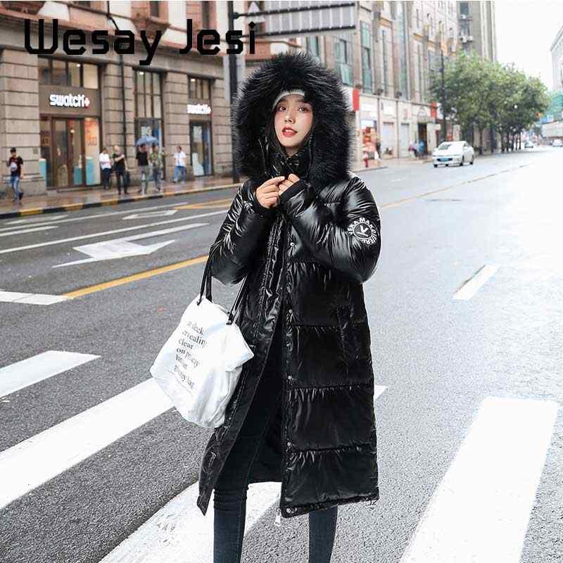Kobiety Parka płaszcze jesień zima błyszczące damska kurtka znosić srebrny gruby kurtki dziewczyna ciepłe luźne moda błyszczące długie płaszcze