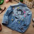 Джинсовая куртка для девочек одежда для малышей, пальто с принтом для девочек верхняя одежда с вышивкой для девочек, детские джинсовые курт...