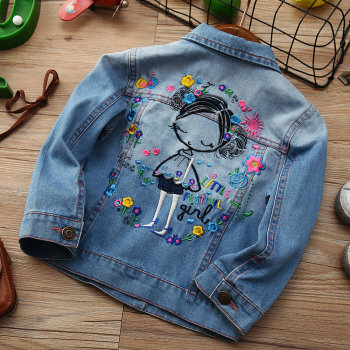 Girl Denim Jacket Baby clothes For girls Print Coat Embroidery Outwear Girl Kids Cartoon Jean Jackets Coat For 2-10T Years цена 2017