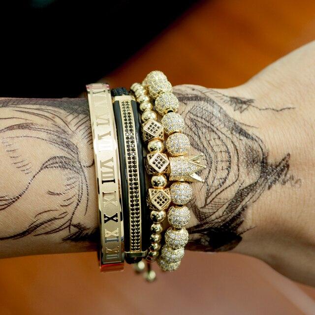 Hommes Bracelet bijoux 4 pièces/ensemble couronne breloques macramé perles Bracelets tressage homme luxe bijoux pour femmes bracelet cadeau