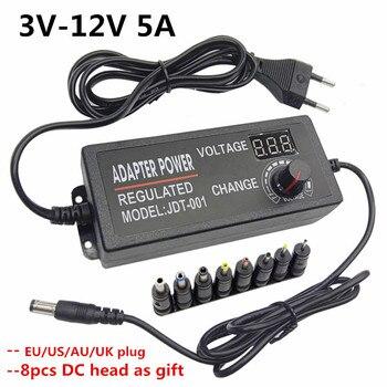 Adaptador de corriente ajustable 3V 4,5 V 5V 6V 7,5 V 9V 12V 5A AC DC adaptador cargador Universal para tira de luz led adaptador de lámpara