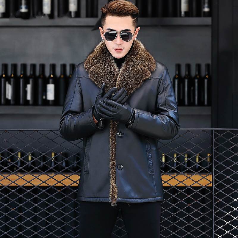 Genuine Leather Jacket Men Real Wool Fur Liner Men Sheepskin Coat Racoon Fur Collar Chaqueta Cuero Hombre DXL1609 KJ1164
