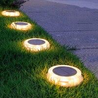 Luces LED solares para césped, lámpara de calle enterrada, impermeable, para exteriores, jardín, Villa, luz Solar decorativa, blanco cálido