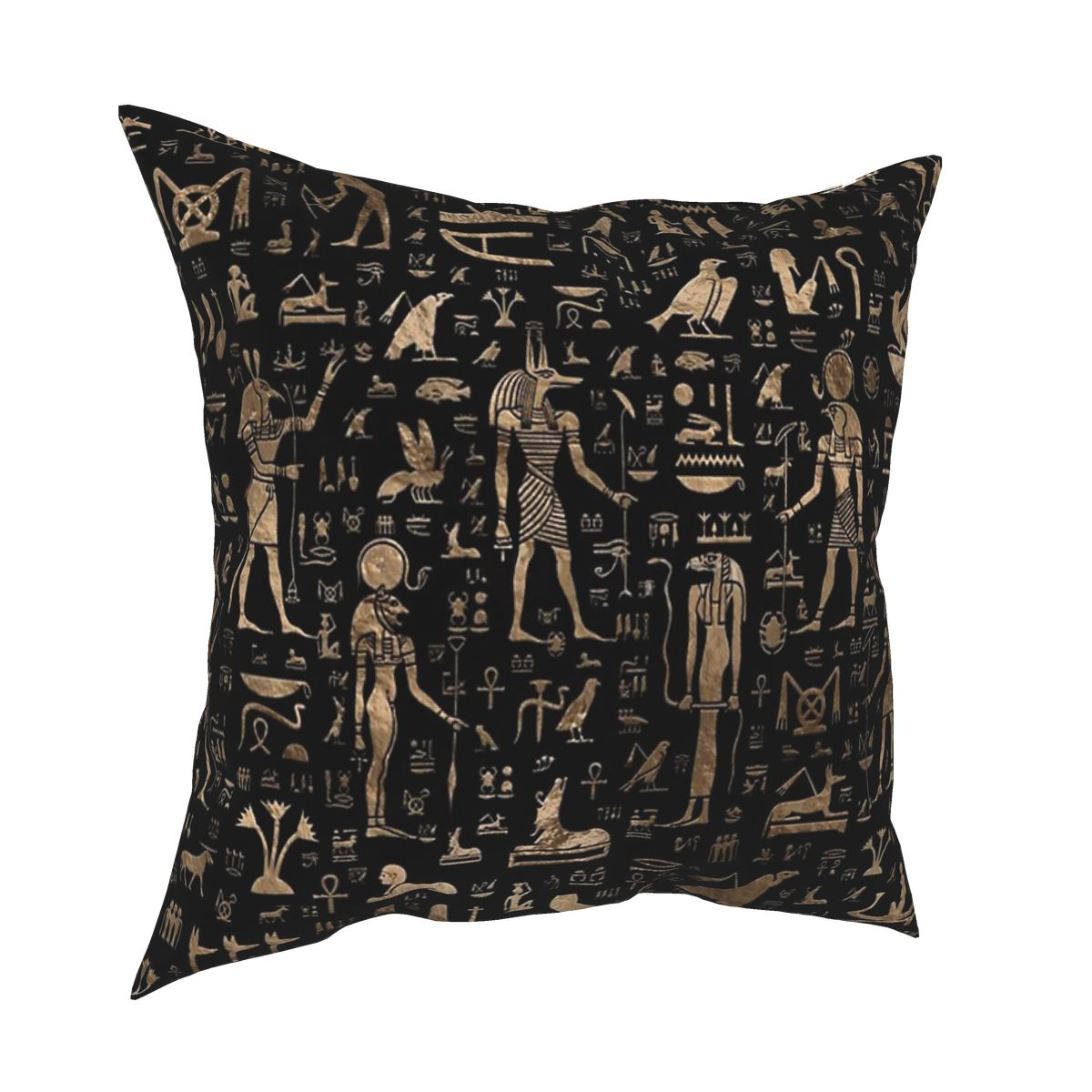 Ancient Egyptian Gods Hieroglyphs Black Pillowcover Home Decorative Eastern Language Cushions Throw Pillow for Car