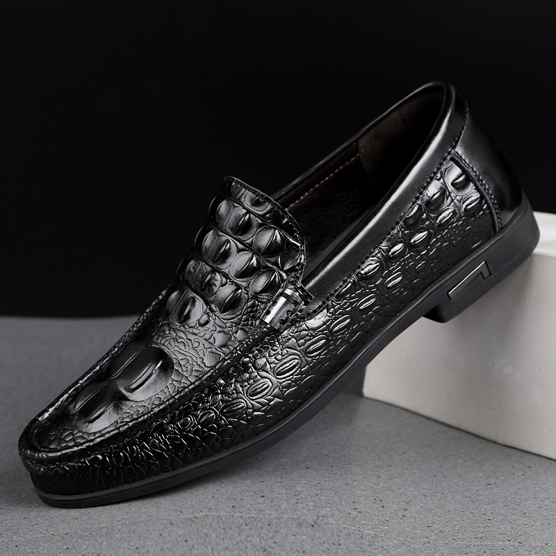 Men Black Dress Loafers Crocodile Pattern High Quality Slip-ons Stylish Business Formal Shoes Male Casual Summer Flats Moccasins