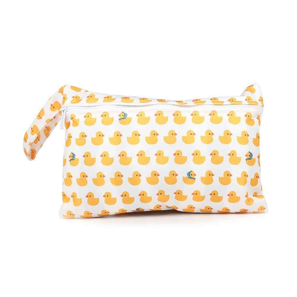 Bolsa húmeda de bebé reutilizable para amamantar almohadillas menstruales Waterptoof PUL manejo a presión Wetbag maternidad cochecito con bolsa para pañales bolsas 15*22,5 cm