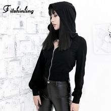 Fitshinling Goth Dark Cut Out Hoodies For Women Autumn Winter Slim Black Sweatshirt Women's With A Hood Harajuku Zip-Up Hoody недорого