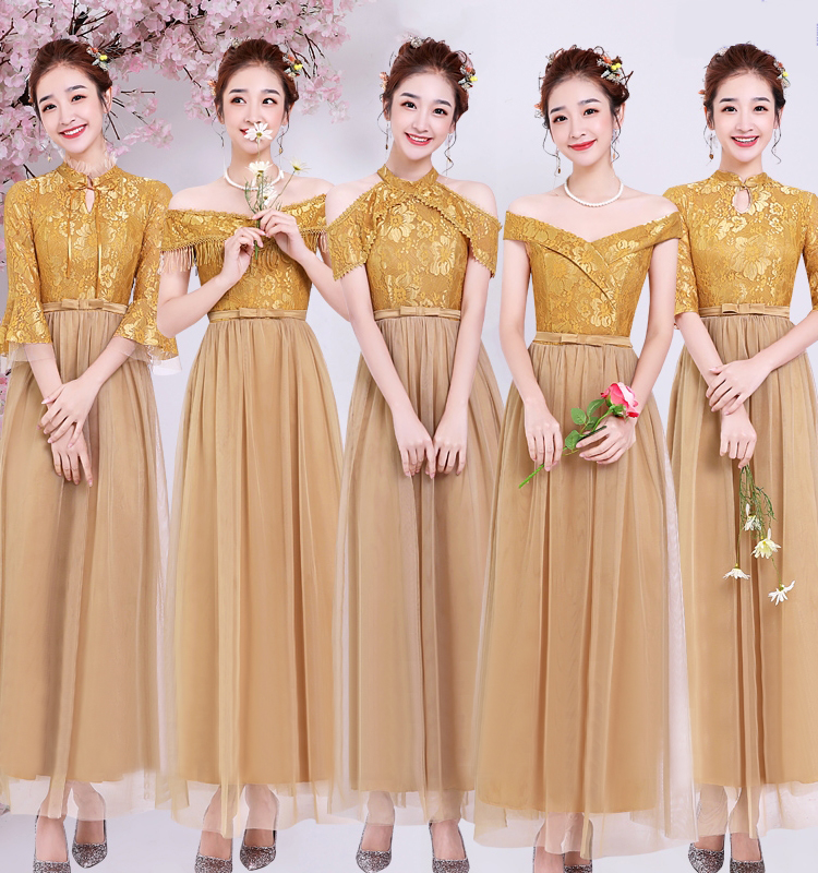 Plus Size Gold Bridesmaid Dress Elegant Vestido Azul Marino Woman Dresses For Party And Wedding Boat Neck Sexy Prom Dress Sister