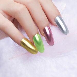 Image 3 - Urodzony królowa Super połysk paznokci błyszczy lustro tytanowy proszek różowe złoto srebro metaliczny Manicure paznokci chromowane artystyczne kurz dekoracji