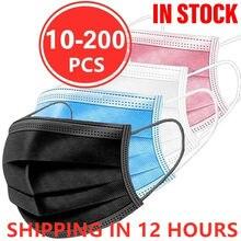 10 pces-200 pces máscara protetora descartável cinzenta preta da boca 3 camadas filtro meltblown máscara descartável respirável segura da boca da máscara