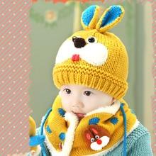 2Pcs/Set Knit Rabbit Baby Hats Scarf Turban Beanie Warm Wool Caps Soft Hat For Childern Girls Boys Elastic Bonnet Autumn Winter стоимость