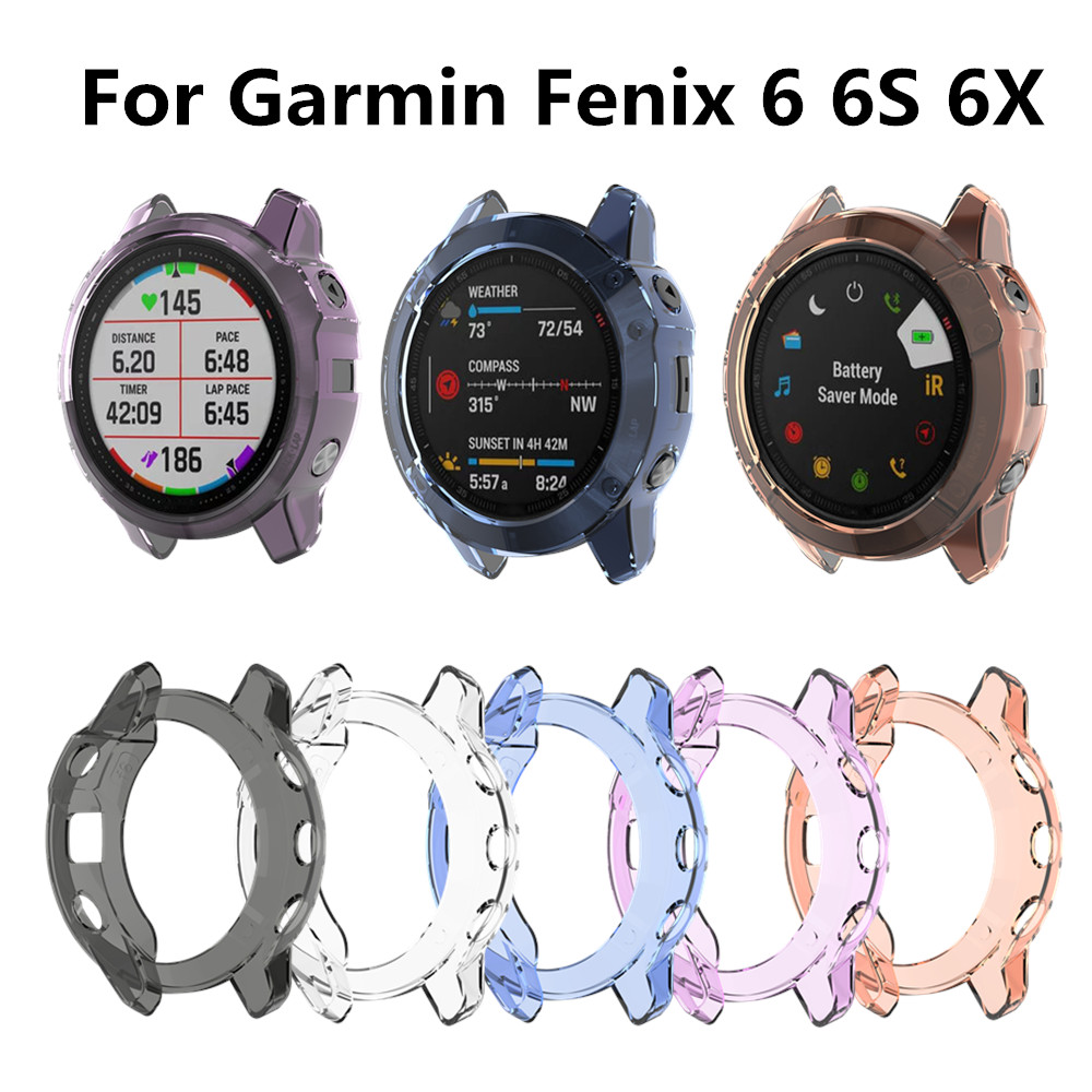 Protection Case For Garmin Fenix 6 6S 6X Smart Watch Protector Frame Soft Crystal Clear TPU Case Cover For 6 Pro 6S Pro 6X Pro