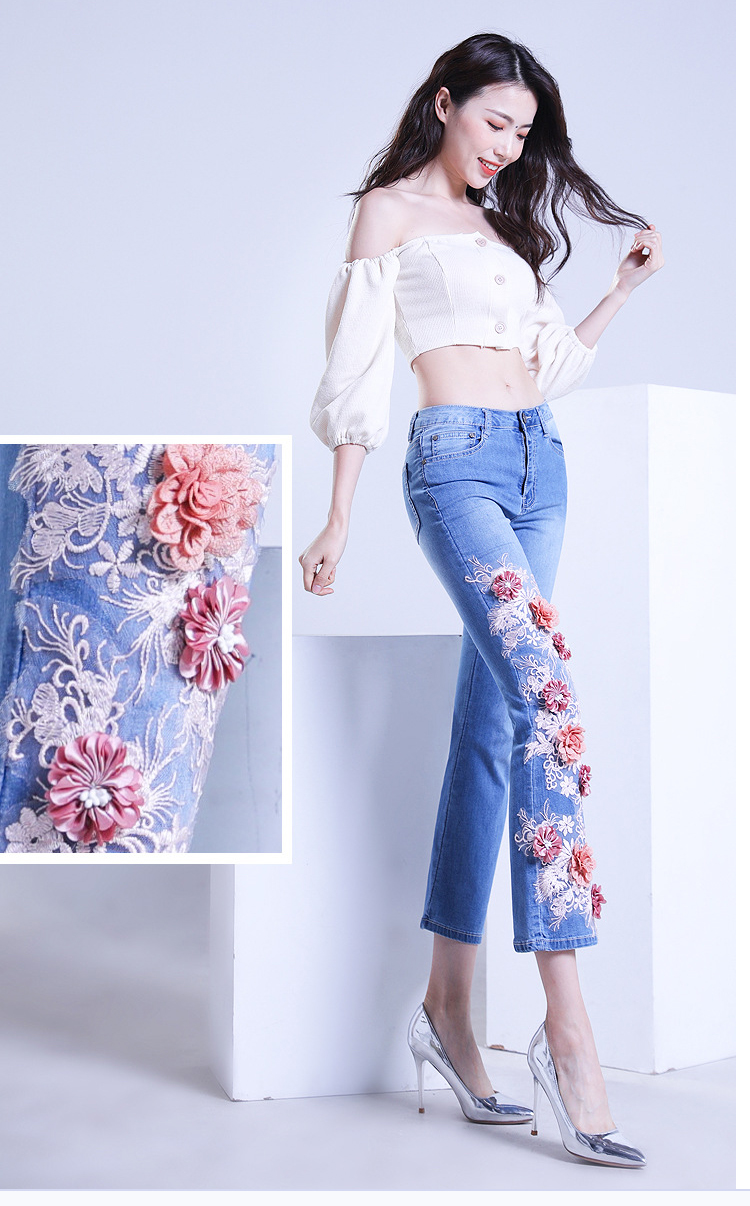 KSTUN FERZIGE women jeans cropped pants high stretch light blue spring and summer embroidery floral flares jeans mujer 2019 yong girls 11