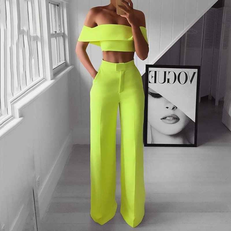 קיץ סגנון 2PCS כבוי כתף יבול למעלה ישר מכנסיים סט לנשים 2019 סקסי תלבושת צהוב לבן ורוד שחור שתי חתיכה להגדיר חליפה