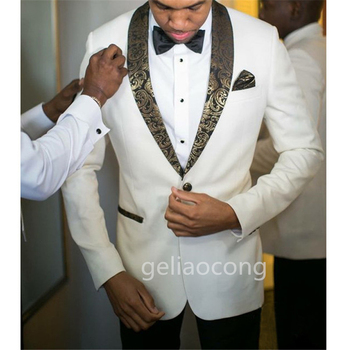 New Ivory Men's Suit Custom Made Slim Fit Easculino Evening Suits For  Wedding Prom Notched Lapel Groom Tuxedos 2 Piece Formal