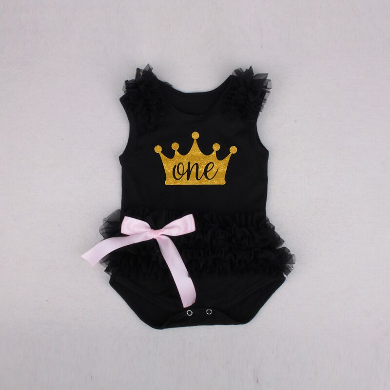 0-18 Months Newborn Baby Girl Crown Romper for Birthday 100% Cotton Bow Gauze Rompers Sleeveless summer romper baby Clothes image