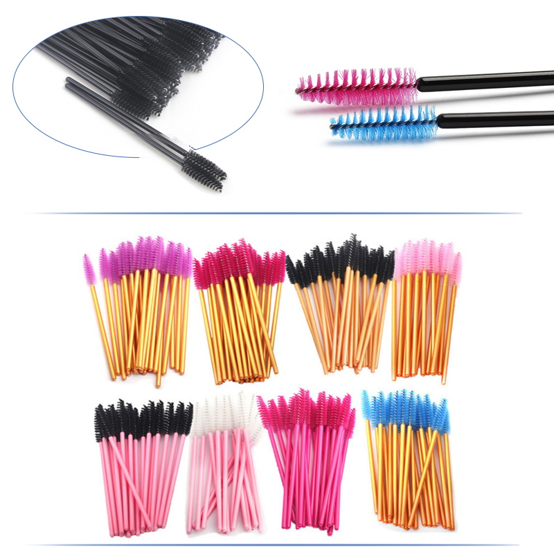 NEWCOME 100pcs One-Off Disposable Eyelash Brush Mascara Makeup Applicator Wands Eyelash Extension Makeup Brushes Make Up Brushes