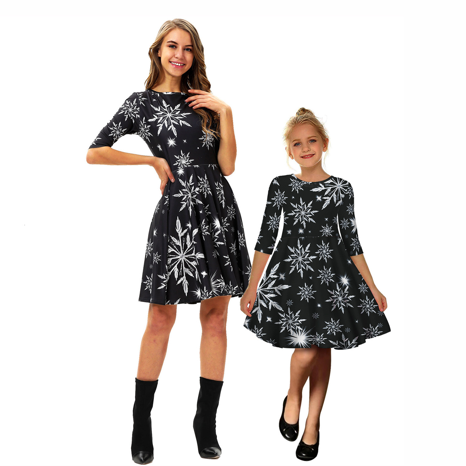 Snowflake Christmas Mother Daughter Dresses Mommy And Me Clothes Family Matching Outfits Look Women Girls Mom Mum And Baby Dress