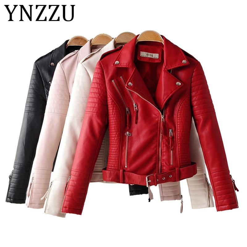 YNZZU High Quality Women Faux   Leather   Jacket Coat 2019 Autumn Turn Down Collar Motorcycle Rivet Coat Streetwear with Belt A1130