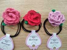 Вязанная крючком Розовая петля для волос веревка украшение кожаный