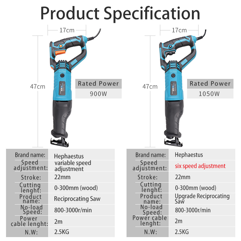 Image 3 - NEWONE Reciprocating saw handsaw saber saw multifunction saw 900W/1050W for metal wood meat bone pipe cutting saw with blade kit-in Electric Saws from Tools on