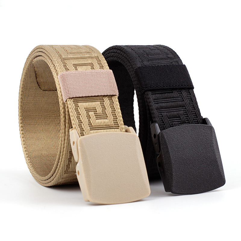 Men's/Women's New Teenage Students Canvas Belt Hypoallergenic Flat Plastic Buckle Waistband Fashion Casual Jeans Belt P96