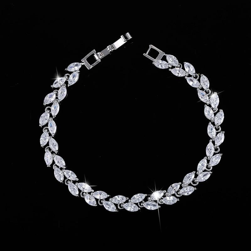 Fashion model beauty leaves shape with high quality zircon stones women Jewery bracelet