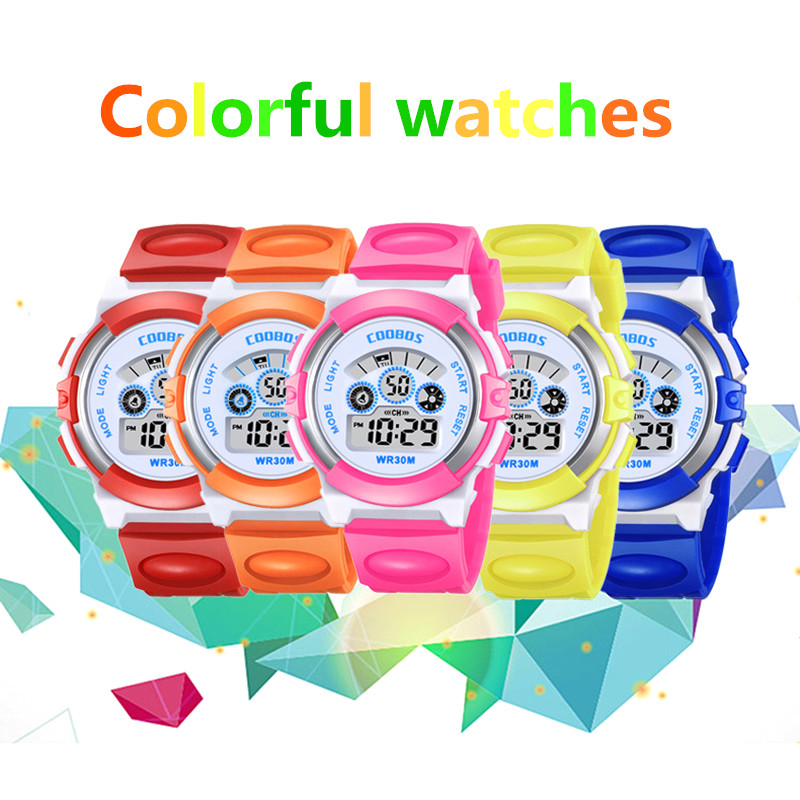 Waterproof Children Casual LED Sports Digital Watch Kids Alarm Date Wrist Watch Clock Boys Gift Kids Watch Montre Enfant Garcon