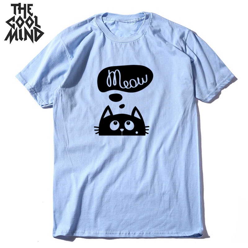 COOLMIND Top Quality Cotton Summer Knitted Men T Shirt Short Sleeve Lovely Cat Print Men Tshirt O-neck T-shirt Male Men Tees