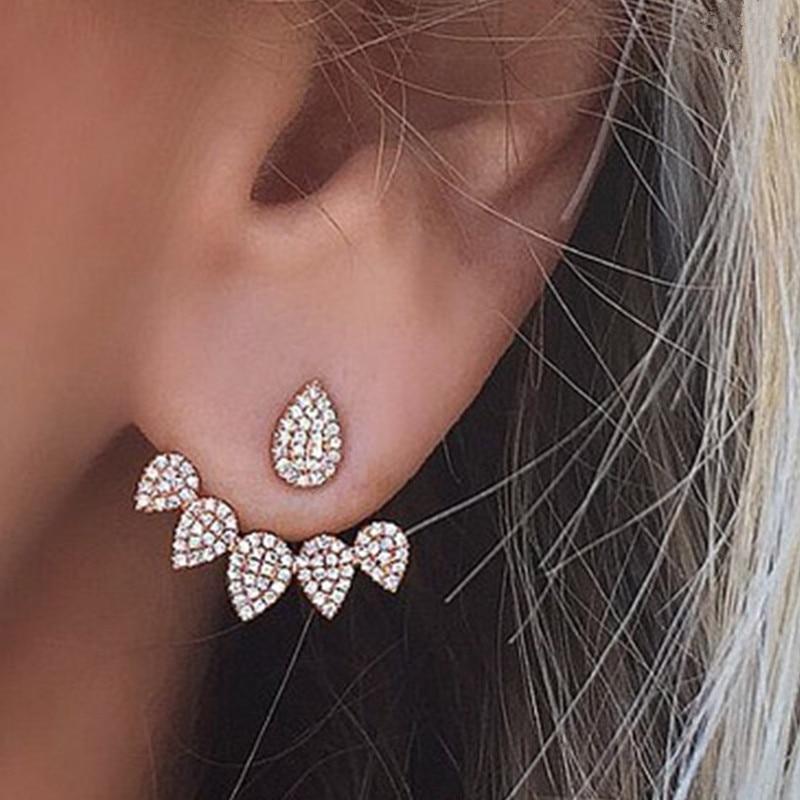 Mode rose pierre cristal fleur goutte boucles d'oreilles pour femmes or strass boucles d'oreilles bijoux modernes cadeau 32