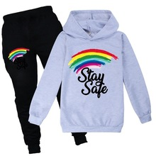 Rainbow Hoodies Kids Sweatshirts Fashion Kids Hooded Pants sets Baby Toddler Girls Coat Kids Clothes Boys Casual Tees Sportswear