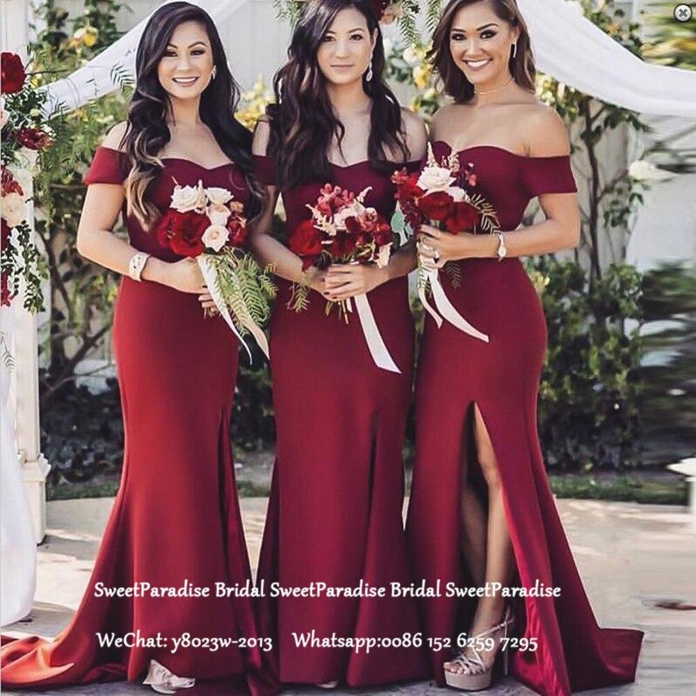 Burgundy Long Mermaid Bridesmaid Dresses Off Shoulder Side Split Vestido De Festa Women Formal Wedding Guest Dress Party Gown