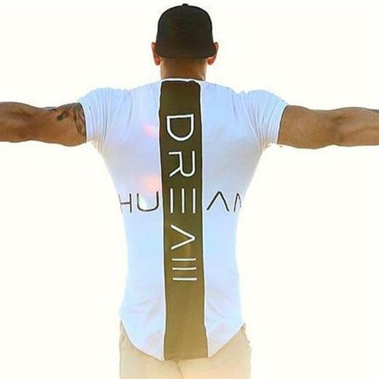 Men Tshirt Summer Patchwork Curved Hem T-shirt Men Fitness Workout Casual Streetwear