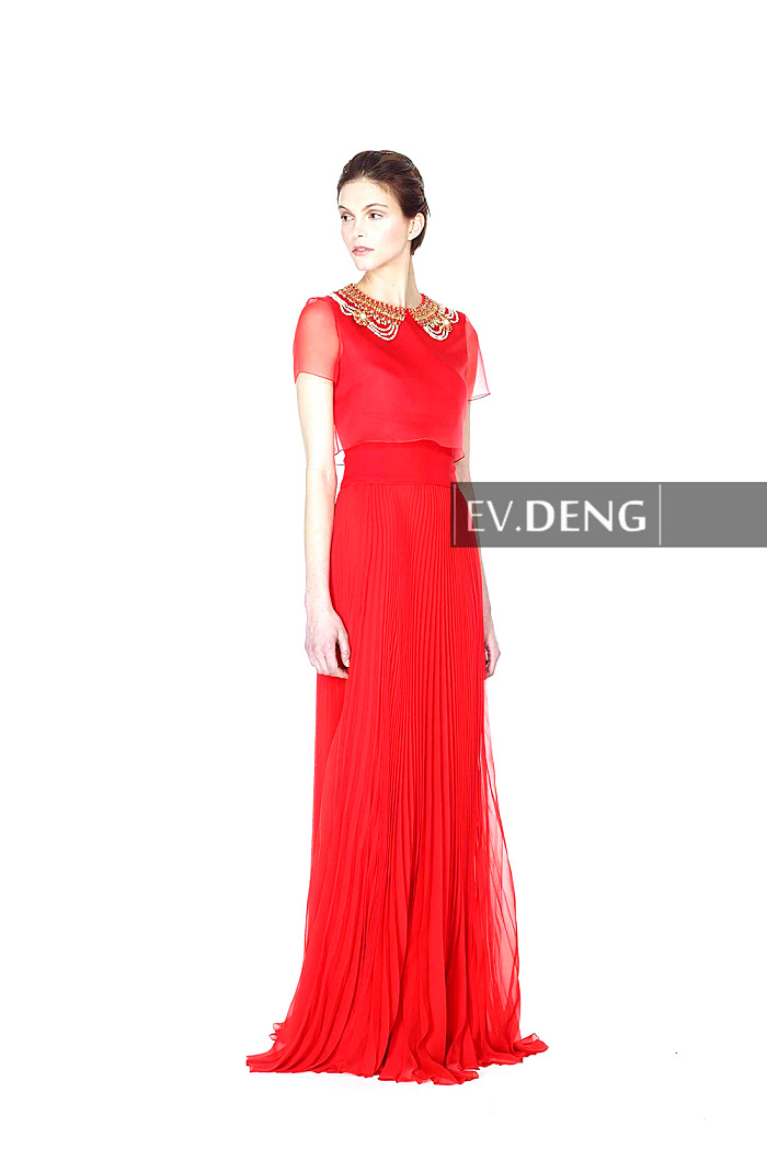 Sexy Crystal Beading Crumple Vestido De Festa Longo Short Sleeve Prom Dresses 2015 Red Chiffon Long Evening Dress Robe De Soiree