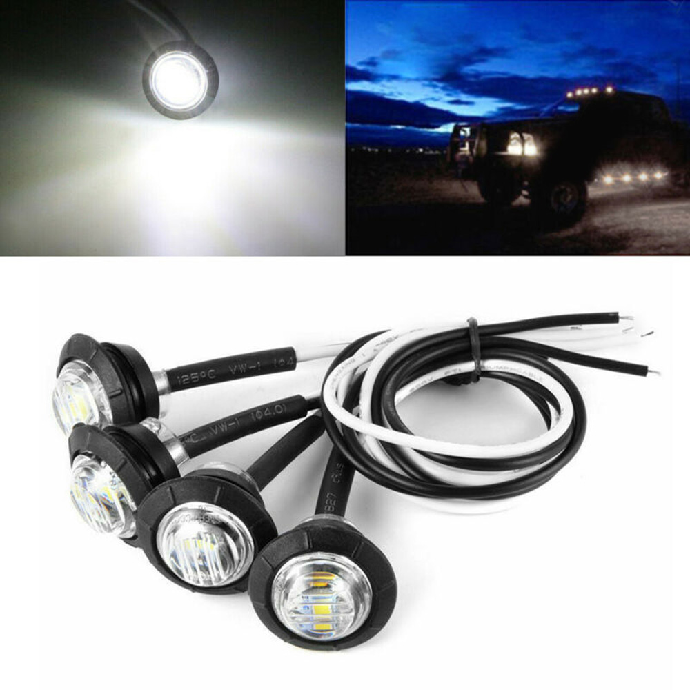 4pcs 12V 1W 80LM White Car Truck Trailer Round LED Bullet Button Side Marker Light Lamp PC Lens Car Truck Trailer LED Light