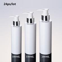 24 Stuks Loition Fles Met Pomp 100 Ml 150 Ml 200 Ml Wit Zilver Lotion Pomp Plastic Fles, pet Lotion Fles Met Dispenser