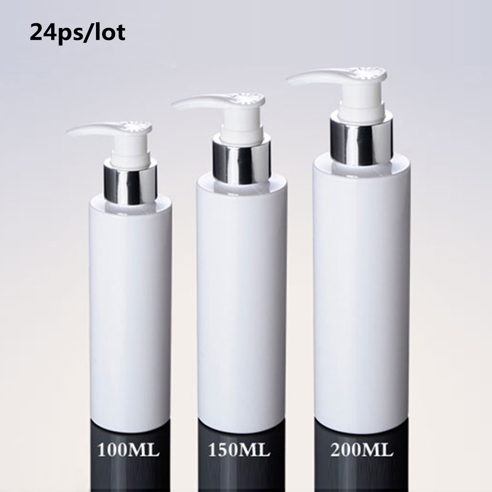 24ps/lot Cosmetic Packaging 100ml 150ml 200ml White Plastic Silver Lotion Pump Bottle, PET Bottle For Shampoo With Dispenser