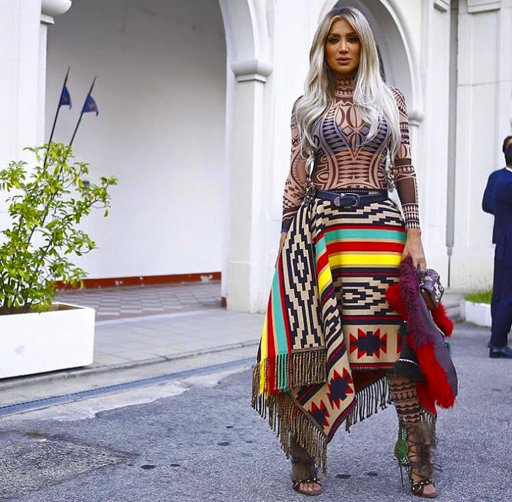 Burning Man Festival Bodysuit Women Tribal Tattoo Print Mesh Jumpsuit Curvy African Aztec Bodysuit Celebrity Catsuit  Jumpsuit